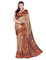 Araham Womens Faux Crepe Beige Saree With Blouse Piece
