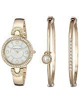 Anne Klein Womens AK/1960GBST Swarovski Crystal Accented Gold-Tone Bangle Watch and Bracelet Set