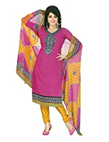 Shree Ganesh Clothing Women Crepe Salwar Suit Dress Material (M-4283 _Pink _Free Size)