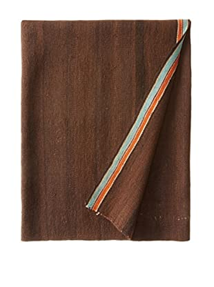 Nomadic Thread Society Peruvian Manta/Throw, Chocolate/Orange/Ivory