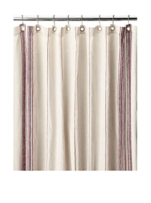 Coyuchi Rustic Linen Shower Curtain, Natural/Red/Indigo