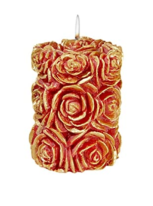Volcanica Flora Pillar Candle, Red/Gold, Small