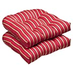 Pillow Perfect Indoor/Outdoor Red/Gold Striped Sunbrella Wicker Seat Cushions, 2-Pack