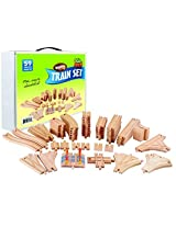 Wooden Train Track 59 Piece Pack 100% Compatible With All Major Brands Including Thomas Train Wooden Railway System By Kids Destiny