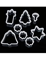 8PCS Christmas Cookie Cutter Plastic Bell Tree Star Cake Mold Fondant Baking Mould