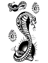 Spestyle New And Fashion Design Terrible Black And White Cobra Fake Temp Tattoo Stickers