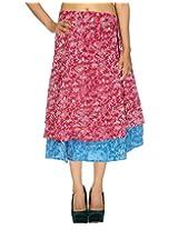 Rajrang Floral Printed Work Two Layer Wrap Around Long Skirt