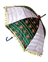 Indian Jaipuri Ethnic Embroidery work & Sequins Work Silk Umbrella Parasol 30 X 34 Inches