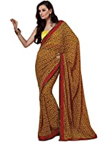 Yellow Maroon Georgette Casual Saree from G3 fashions
