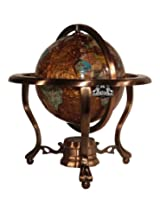Unique Art 10-Inch Tall Table Top Amberlite Pearl Swirl Ocean Gemstone World Globe with Copper Tripod Stand