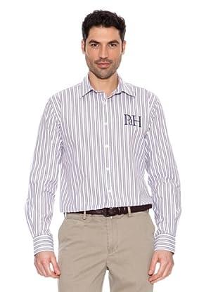 Pedro del Hierro Gestreiftes Hemd (Flieder/Weiß)