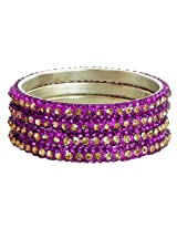 DollsofIndia Four Magenta with Golden Stone Studded Bangles - Stone and Metal - Magenta