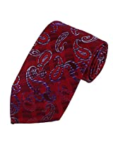 DAA7B11C Red Blue Patterned Birthday Gifts for Mens Tie Woven Microfiber Formal Wear Necktie By Dan Smith