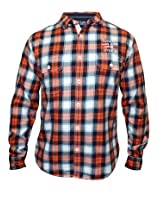 Spykar Shirt Orange-White Checks Full Sleeve