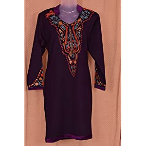 Indian Treasures Boutique Aari Work Kurti - Purple