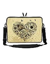 Meffort Inc 17 17.3 inch Neoprene Laptop Sleeve Bag Carrying Case with Hidden Handle and Adjustable Shoulder Strap - Hearts of Flower