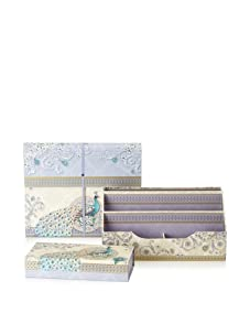 Punch Studio Desk Set: Expanding File, Desk Caddy Organizer, and Pencil Box (Ivory Peacock)