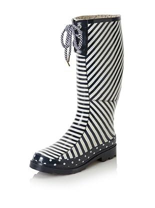 Chooka Women's Striped Knee-High Rain Boot (Navy/White)