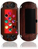 Skinomi Tech Skin Sony Playstation Psp Vita Screen Protector + Dark Wood Full Body Skin / Front & Back Premium Hd Clear Film / Ultra Invisible And Anti Bubble Shield With Free Lifetime Replacement