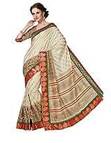Beige Color Art Bhagalpur Silk Saree with Blouse 11339
