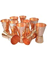Dungri India Craft ® (Set of 10) Premium Hammered Solid Copper Jiggers - Shot Glasses - New Beer Bar Collection / Wine Glasses/Double Shot Glasses