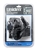 Uniden Car Charger with Universal Phone Holder - Retail Packaging - Black/Smoky Black