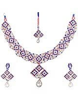 Lucky Jewellery Rose Rani Blue Alloy Chain Patwa Set for Women (660-ISP-947-RB)