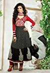 Designer Black & Red Colour Georgette Salwar Kameez.