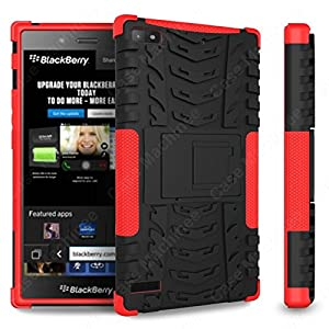 Heartly Flip Kick Stand Hard Dual Armor Hybrid Rugged Bumper Back Case Cover For Blackberry Z3 - Red