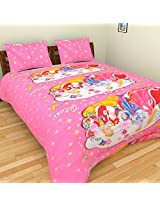 KRISHNA 200 TC Cotton Double Bedsheet with 2 Pillow Covers - Cartoon, Multicolour