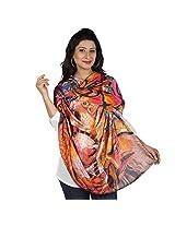 Etoles Digital Print Mosaic Cotton Chanderi Multi-Color Stole for Women