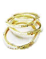 Trendy Souk - Shaningo- Single Line Real Freshwater Hyderabadi Pearl AAA Quality Bangles (Set Of 4)