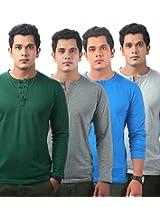 Krook Men's Cotton Multi-Color Pack Of 4 T-Shirt (X-Large)