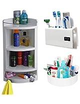 CiplaPlast Combo of Extra Large Corner Bathroom Cabinet, Tooth Brush Holder & Multi-Purpose Container - White