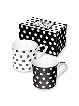 Easy Life Design Set 2 Mug in Porcellana Bone China Happy Pois (Nero)