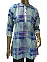 Sai Ruchi Women's Blue Check Kurti - XX-Large/44