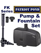 Patriot Pump & Fountain Set FK750 - Extremely Low Energy Magnetic Drive Pump & Fountain Set With 3 Display Nozzles - 750 GPH