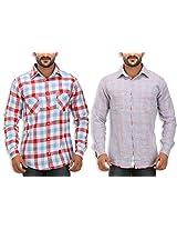 SPEAK Men's Red Checkered Reversible Cotton Casual Shirt
