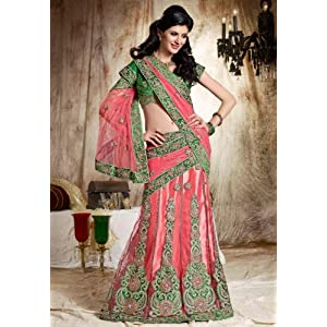 Net Lehenga Choli with Dupatta - Dark Peach