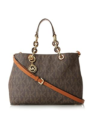 MICHAEL Michael Kors Women's Cynthia MK Signature Satchel, Brown