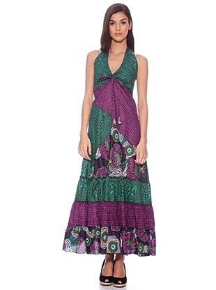 Sigris Vestido Hippie Estampado (Morado / Verde)