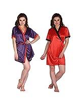 Secret Wish Satin Kimono Wrap Set of 2 (Multi, Free Size)