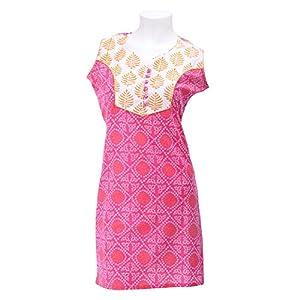 Olivia Women's Pink Bandhej A-line Kurta
