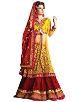 Brijraj Women's Unstitched Resham Lehenga (098901310000_Red & Yellow_Free Size)