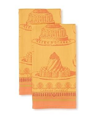 Garnier-Thiebaut Set of 2 Gateaux Delicieux Kitchen Towels, Abricot