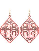 Coral by POKA Non-Precious Metal Pink Dangle & Drop Earrings for Women (Poka_J_136)