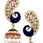 Gold Plated Peacock Meenakari Pearl Jhumki Earring