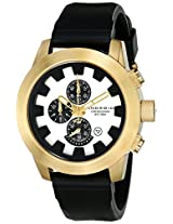 Android Antiforce AD396BGW 46MM Chronograph Gold Case Analog Silver Dial Men's Black Rubber Watch