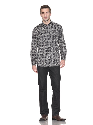 Jhane Barnes Men's Window Long Sleeve Button-Up (Black)