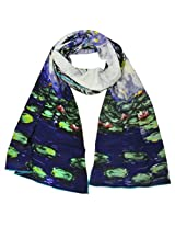 Wrapables Luxurious 100% Charmeuse Silk Long Scarf with Hand Rolled Edges, Claude Monet Nympheas